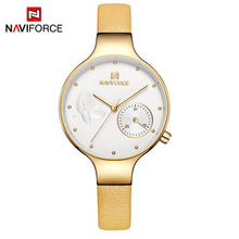 NAVIFORCE Women Fashion Blue Quartz Watch Lady Leather