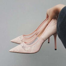 Lace High Heels Transparent Flower Lace Pointed Toe