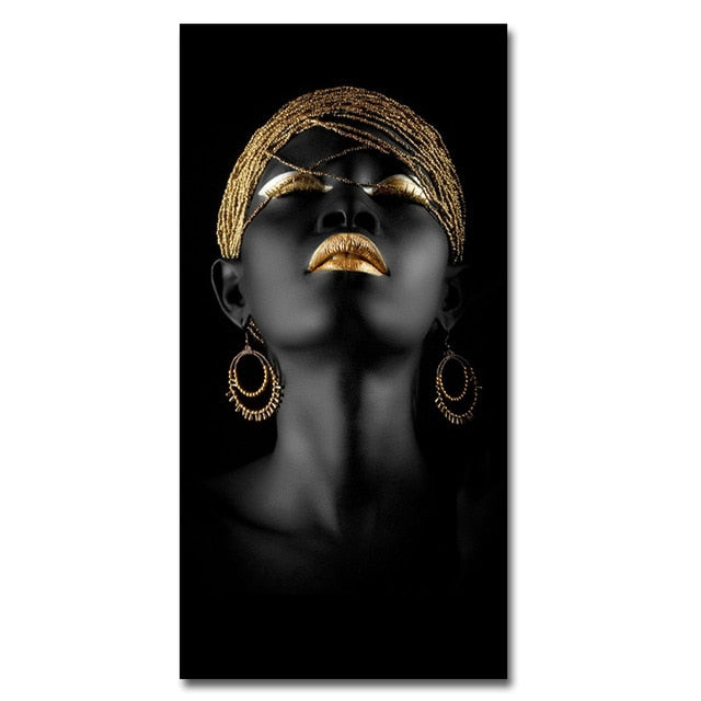 Canvas Prints Modern Black Woman Model Painting Wall Art Poster