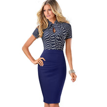 Nice-forever Vintage Contrast Color Patchwork Wear to Work