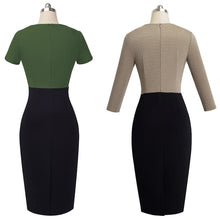 Nice-forever Vintage Elegant Contrast Color Patchwork Wear to Work vestidos