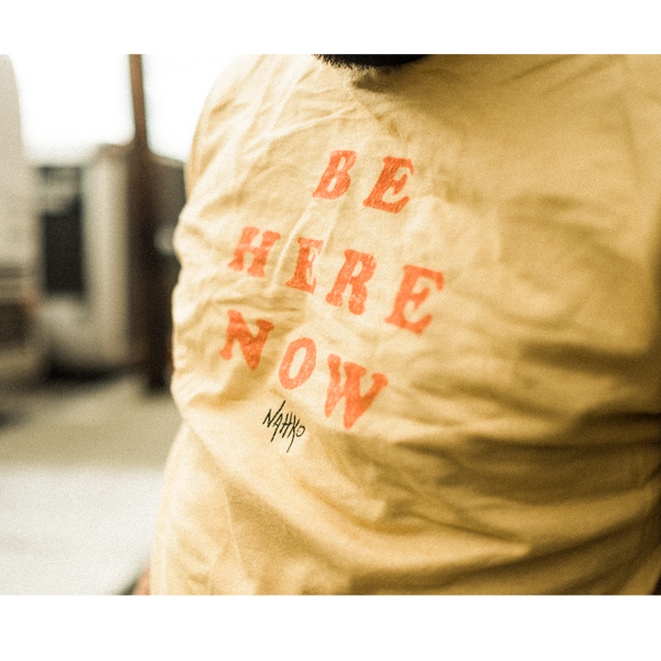 Be Here Now - Unisex Premium Ringer Crew T-Shirt - Mustard / Black Ringer