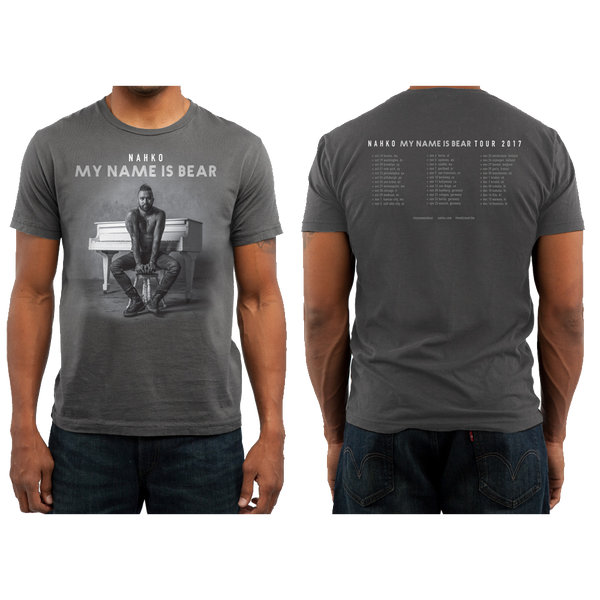 My Name Is Bear Tour Tee - Men's Premium Crew T-Shirt - Charcoal