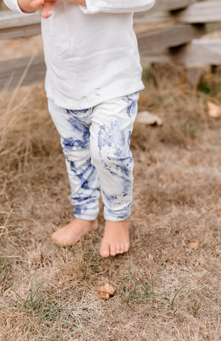 Blue Marble Tie Dye - Grow With Me Pants and Leggings