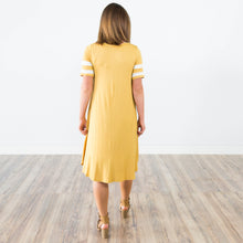 Athletic Stripe Dress in Mustard