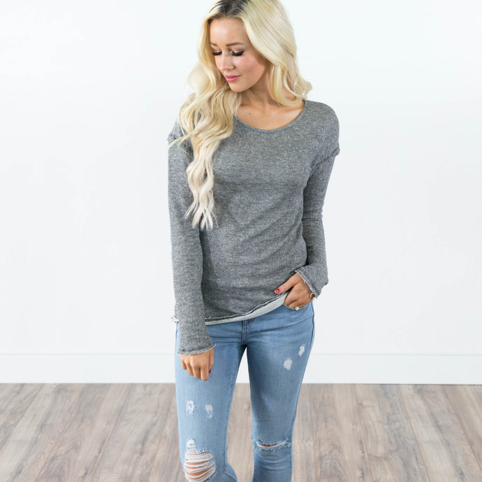 Late November Top in Charcoal