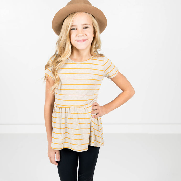 Eliana Baby Doll Top in Mustard Stripe