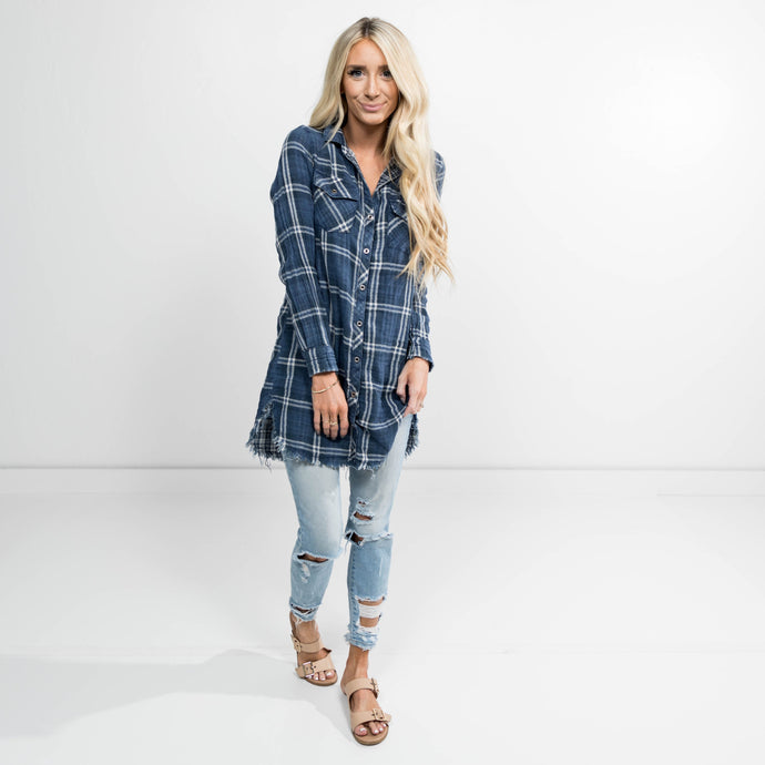 Alexa Plaid Button Up