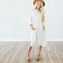 Darcy Stripe Dress in Beige
