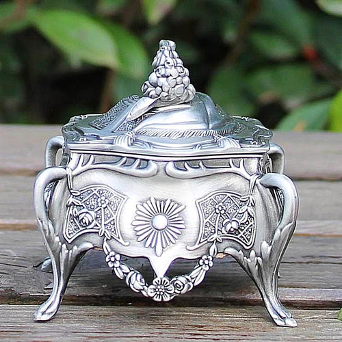 Delicate Pewter Trinket Jewellery Box