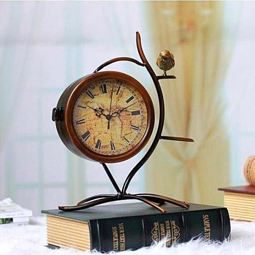 Vintage Bird Double Sided Table Clock