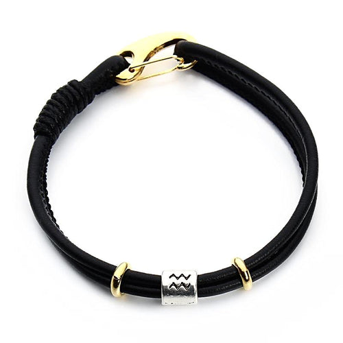 Black Handmade Leather Friendship Zodiac Bracelet