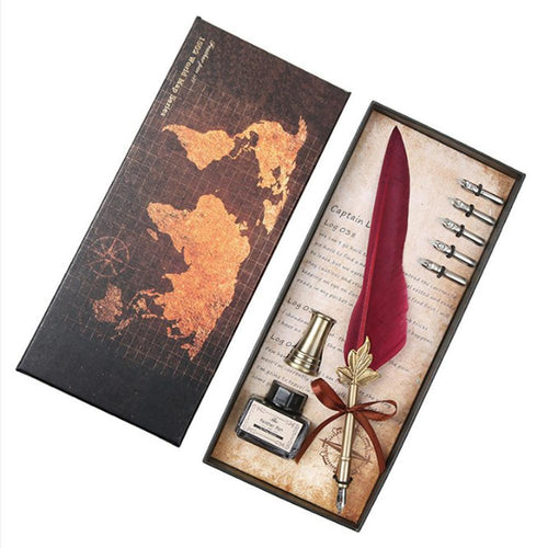 Vintage Map Feather Pen Set - Calligraphy Gift Set - Fountain Pen Set