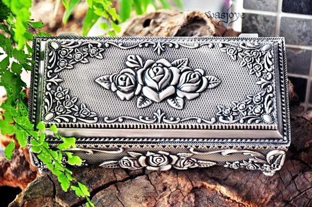 Pewter Rose Design Trinket Jewellery Box Unique Gifts for Grandma