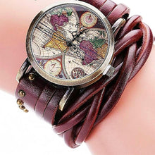 Vintage Braided Leather Strap World Map Watch for Women