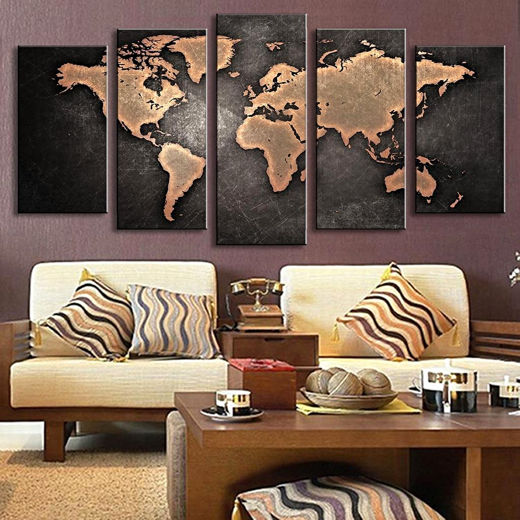 5 Pcs Vintage World Map Canvas Wall Art Home Decor Gifts
