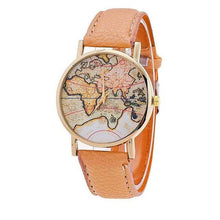Casual Leather Strap World Map Watches for Women Gifts Travelers