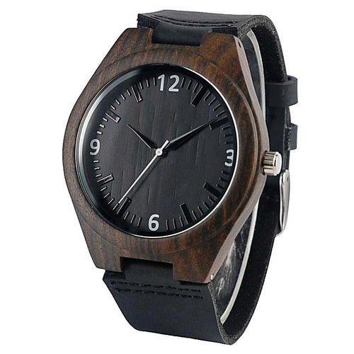 Natural Black Wood Watch for Men