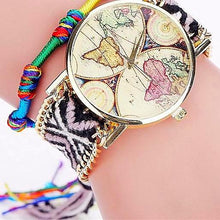 Handmade Braided World Map Watch Friendship Bracelet