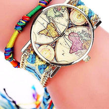 Handmade Braided World Map Watch Gifts for Travelers