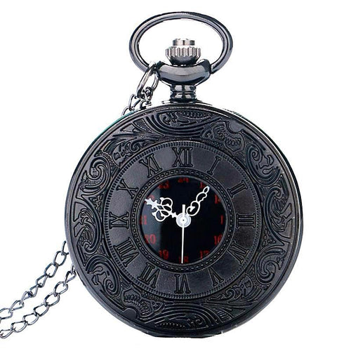 Black Vintage Quartz Steampunk Pocket Watch Necklace