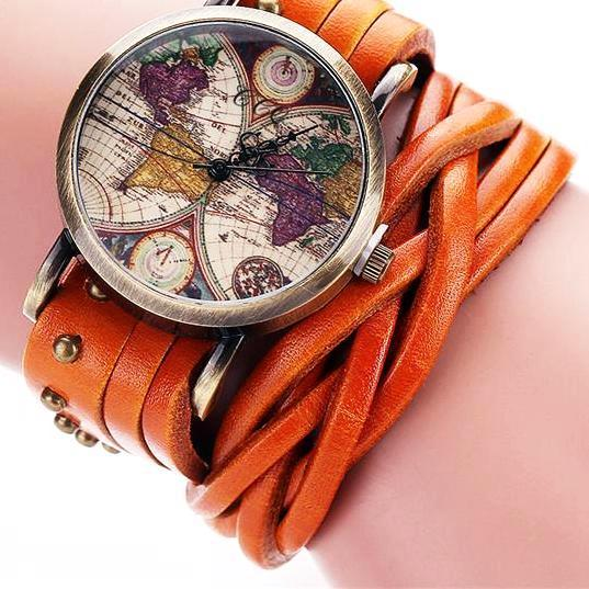 Vintage Braided Leather Strap World Map Watch for Women Gifts for Travelers