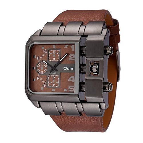 Unique Design Leather Strap Square Men's Watch
