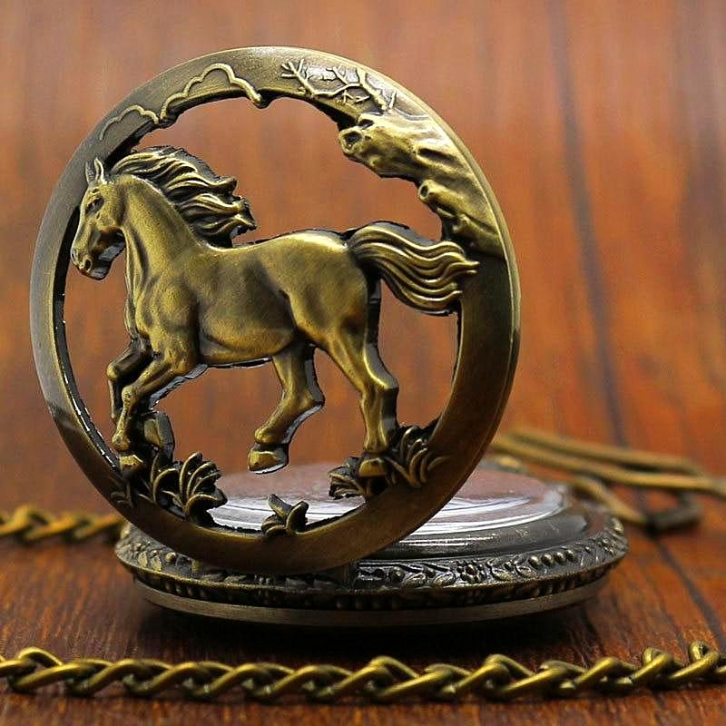 Vintage Bronze Hollow Horse Pocket Watch Unique Watches Unique Gifts for Women