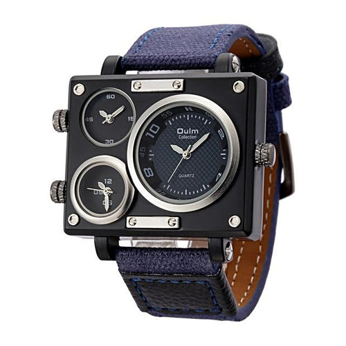 Leather Strap Casual Square Men's Watch Gifts for Him