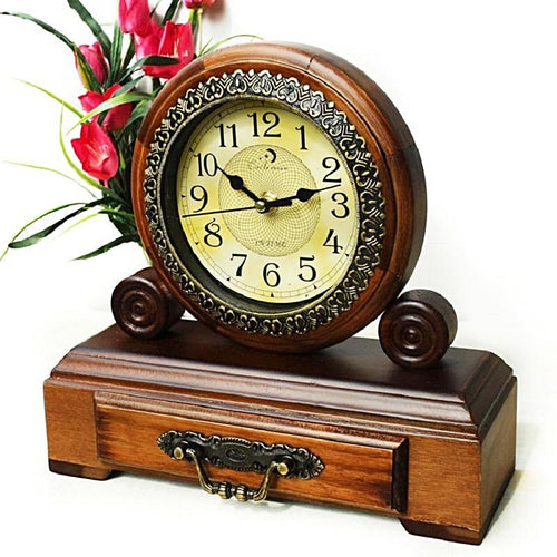 Vintage Wooden Drawer Desktop Clock