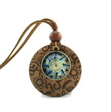 Wooden Glass Dome Compass Necklace Unique Gifts for Travelers