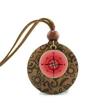 Wooden Glass Dome Compass Necklace