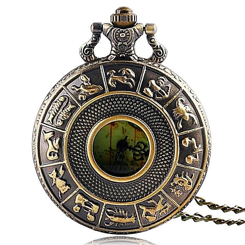 Vintage Constellation Antique Australia Map Quartz Pocket Watch Necklace