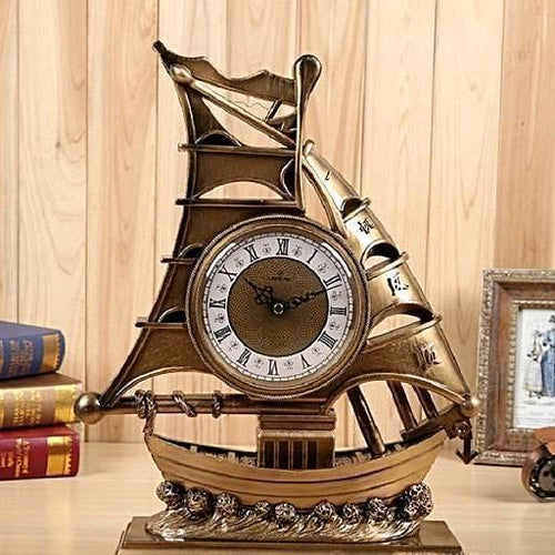 Vintage Ship Desktop Clock Unique Home Decor