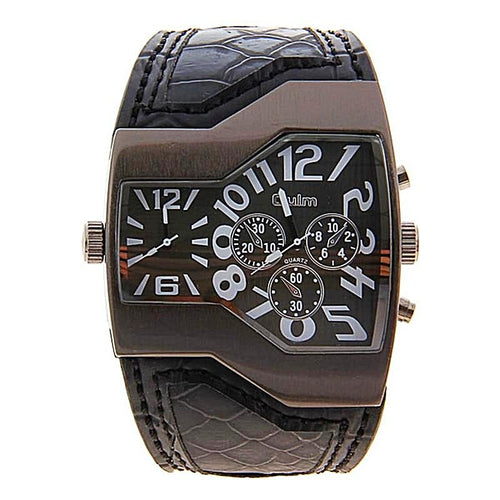 Unique Multi Dial Leather Strap Watch Unique Gifts for Men Unique Watches