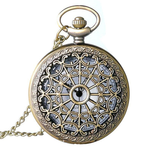 Vintage Quartz Spider Web Hollow Pocket Watch Necklace