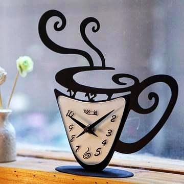 Coffee o'Clock Vintage Desktop Clock Unique Gift for Coffee Lovers
