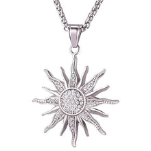 Stainless Steel Sun Rhinestone Pendant Necklace Unique Gifts for Women