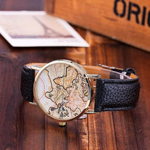 Casual Leather Strap World Map Watches for Women Gifts for Travelers