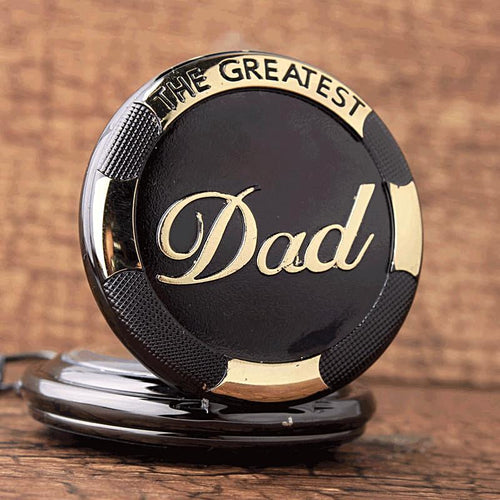 Father's Day Black Gold 'The Greatest Dad' Pocket Watch Necklace