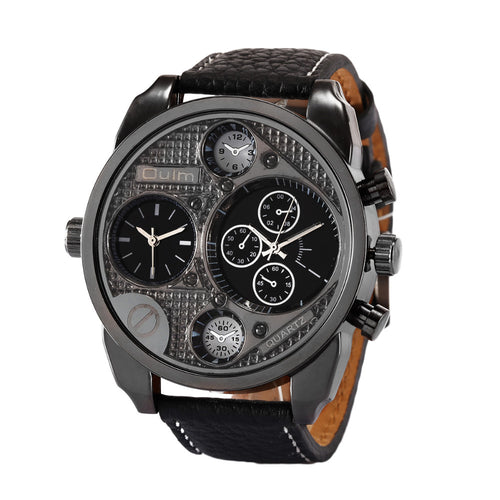 Leather Strap Multi-Dial Quartz Men's Wrist Watch Gifts for Him