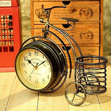 Vintage Wrought Iron Double Sided Bicycle Table Clock Unique Home Decor