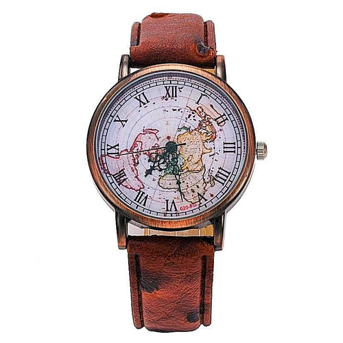 Vintage Leather Strap World Map Watch
