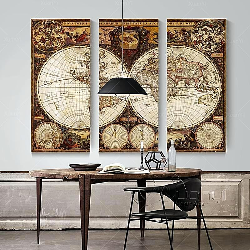 3 Panel Vintage World Map Wall Art - Home Decor Gifts for Travelers ...