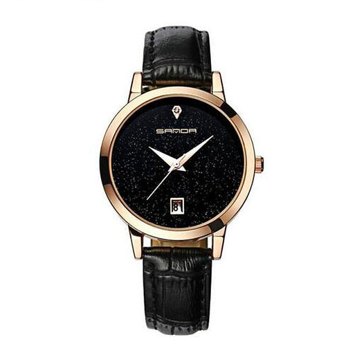 Elegant Leather Strap Women's Quartz Watch Gifts for Her