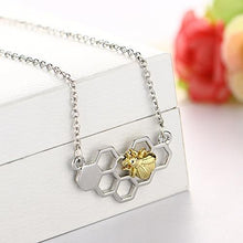 Honeycomb Bee Pendant Necklace Unique Gifts for Women