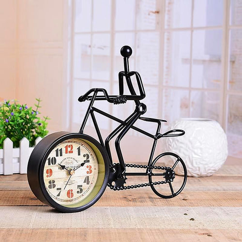 Vintage Metal Bicycle Desk Clock Unique Home Accessory