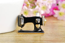 Vintage Sewing Machine Enamel Brooch