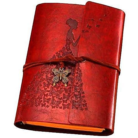 Vintage Leather Travel Journal Lady A6 Blank Unique Gifts for Travelers