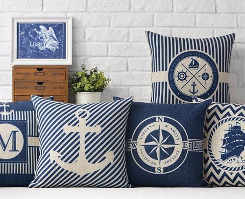 Anchor Pattern Nautical Style Cushion Covers Nautical Home Decor
